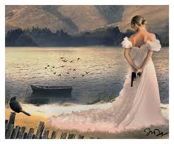 Woman_wedding dress_gun in hand